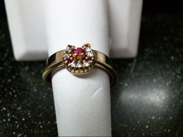 Synthetic Ruby Lady's Stone & Diamond Ring 7 Diamonds .07 Carat T.W.