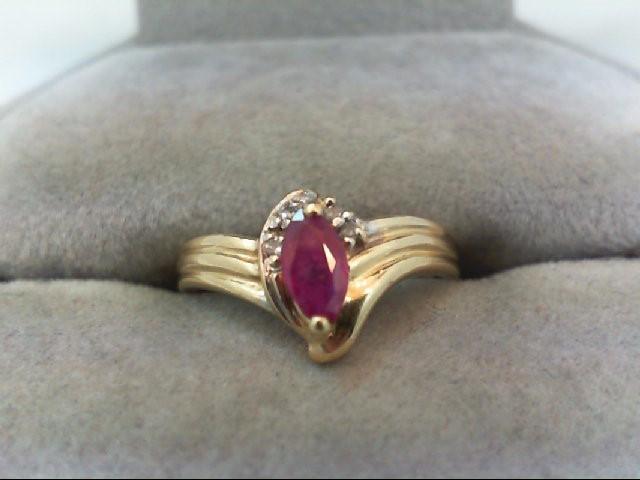 Ruby Lady's Stone & Diamond Ring 2 Diamonds .02 Carat T.W. 14K Yellow Gold 2g