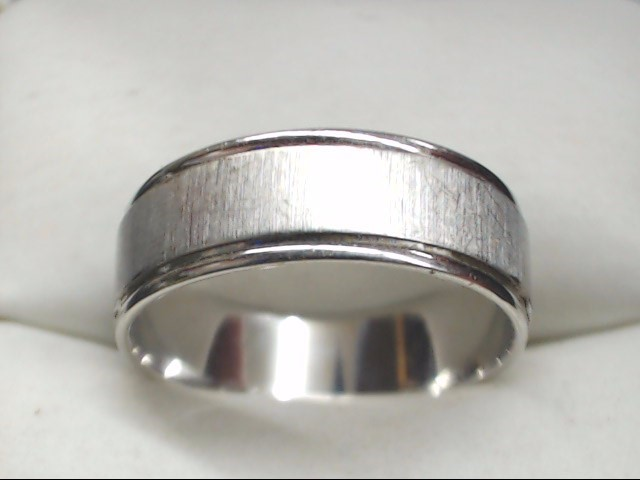 Gent's Gold Wedding Band 10K White Gold 3.2g Size:8