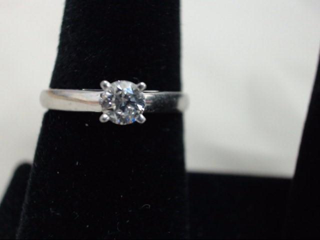 Lady's Platinum-Diamond Solitaire .33 CT. 950 Platinum 5.1g Size:7.8