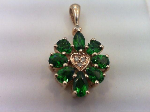 Almandite Garnet Gold-Diamond & Stone Pendant 4 Diamonds .04 Carat T.W.