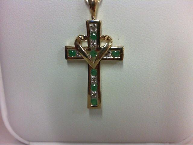 Emerald Gold-Diamond & Stone Pendant 6 Diamonds 0.06 Carat T.W. 10K Yellow Gold