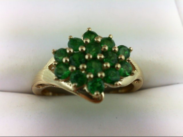Emerald Lady's Stone Ring 14K Yellow Gold 2.9g Size:8