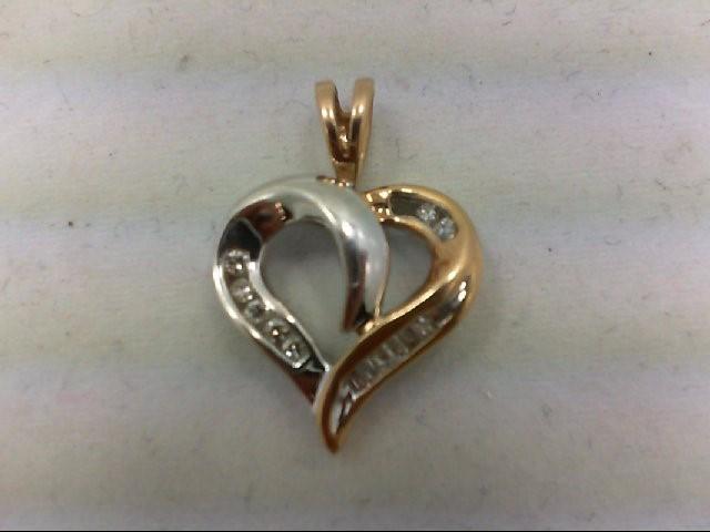 Gold-Multi-Diamond Pendant 13 Diamonds 0.2 Carat T.W. 10K 2 Tone Gold 1.9g