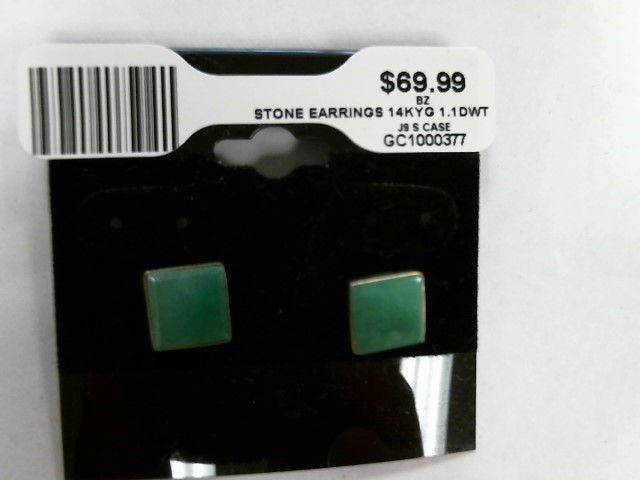Synthetic Green Stone Gold-Stone Earrings 14K Yellow Gold 1.1dwt