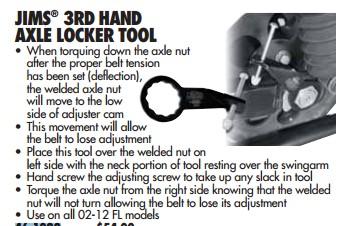 BIKER'S CHOICE 461082; JIM'S BRAND 3RD HAND AXLE NUT LOCK TOOL