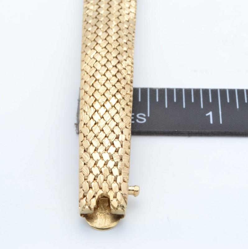 ESTATE BANGLE BRACELET SOLID 14K GOLD FLEXIBLE MESH OPEN HEAVY 30.3g