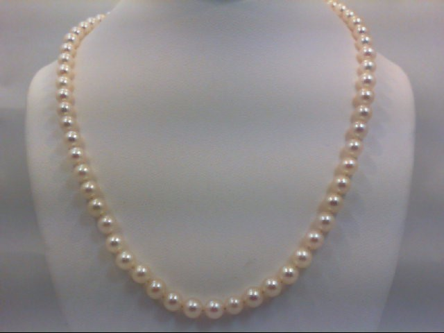 "14"" Pearl Strand Stone Necklace 14K Yellow Gold 12.9g"