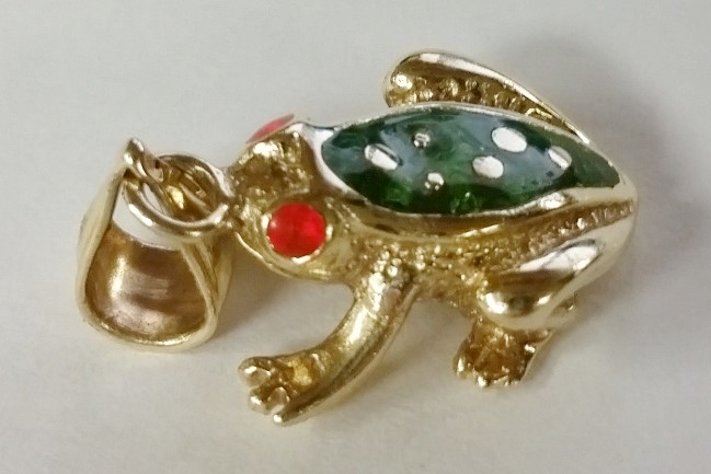 14K Yellow Gold Orange Red & Green Enamel Spotted Frog Pendant