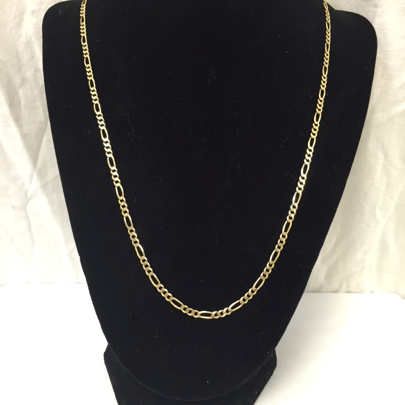 "21"" Gold Figaro Chain 14K Yellow Gold 5dwt"