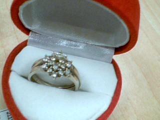 Lady's Diamond Cluster Ring 19 Diamonds .46 Carat T.W. 14K White Gold 5.8g