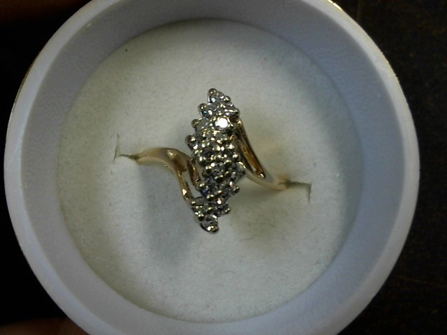 Lady's Diamond Cluster Ring 16 Diamonds .48 Carat T.W. 14K Yellow Gold 3.4g