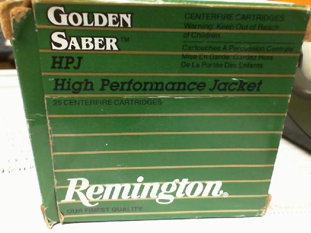 REMINGTON FIREARMS Ammunition GOLDEN SABER HPJ 9MM LUGER +P 25 ROUNDS