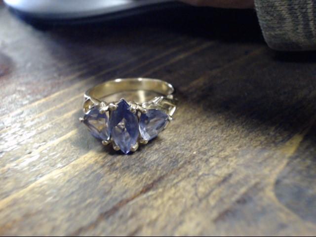 Purple Stone Lady's Stone Ring 14K Yellow Gold 3g Size:7