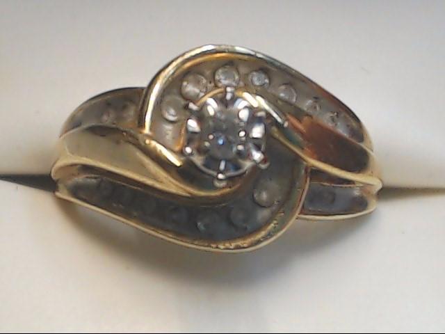 Lady's Diamond Engagement Ring 18 Diamonds .27 Carat T.W. 10K Yellow Gold 4g