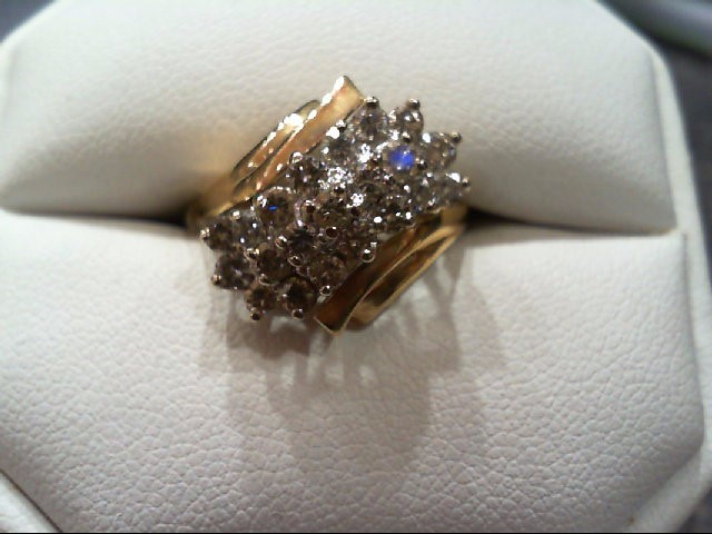 Lady's Diamond Cluster Ring 21 Diamonds .71 Carat T.W. 14K Yellow Gold 5.3g