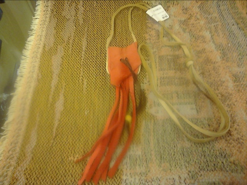 MISC NATIVE AMERICAN MISC USED MERCH MISC USED MERCH; RED COLORED  LEATHER MEDIC