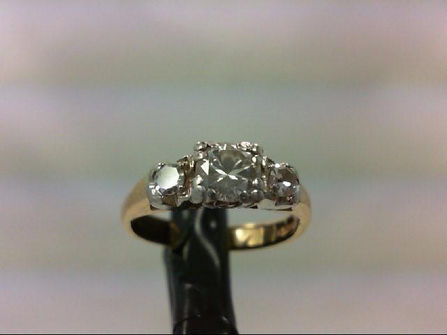 Lady's Diamond Engagement Ring 3 Diamonds 0.54 Carat T.W. 14K Yellow Gold 2.6g