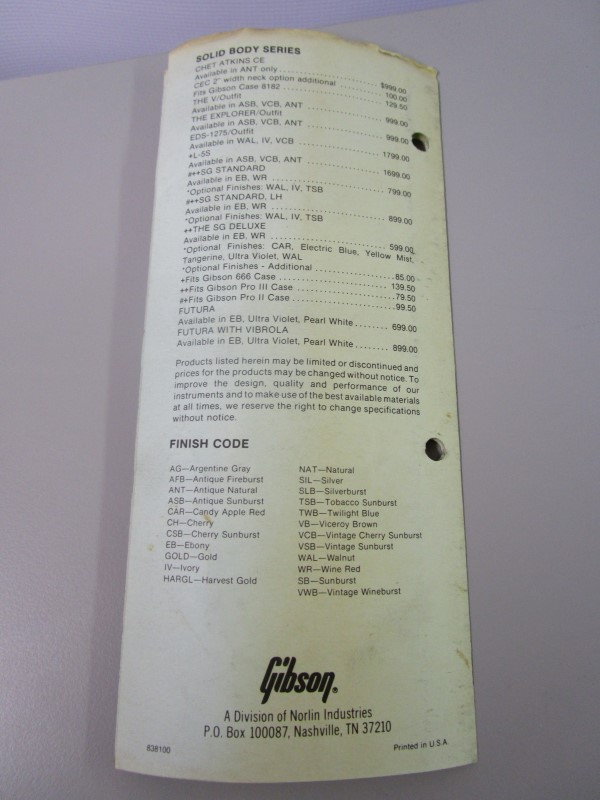 1983 GIBSON GUITAR SUGGESTED RETAIL PRICE LIST BROCHURE, JANUARY 1, 1983