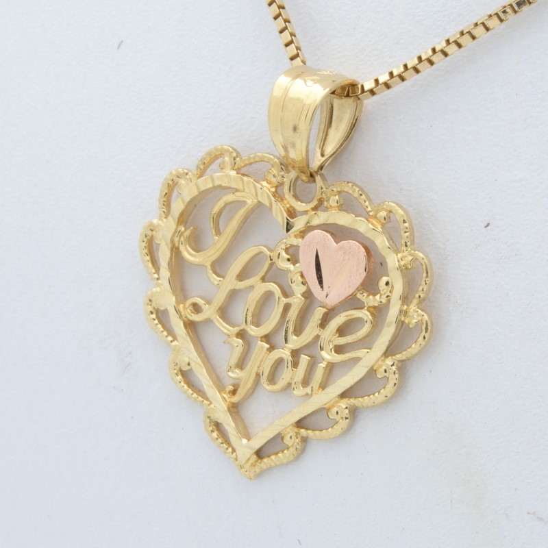 SOLID 14K GOLD HEART PENDANT CHARM I LOVE YOU GIFT PRESENT VALENTINE