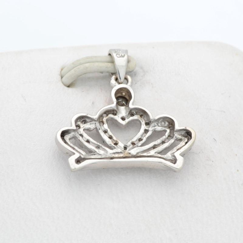 ESTATE DIAMOND CROWN PENDANT CHARM SOLID 10K WHITE GOLD HEART ROYAL