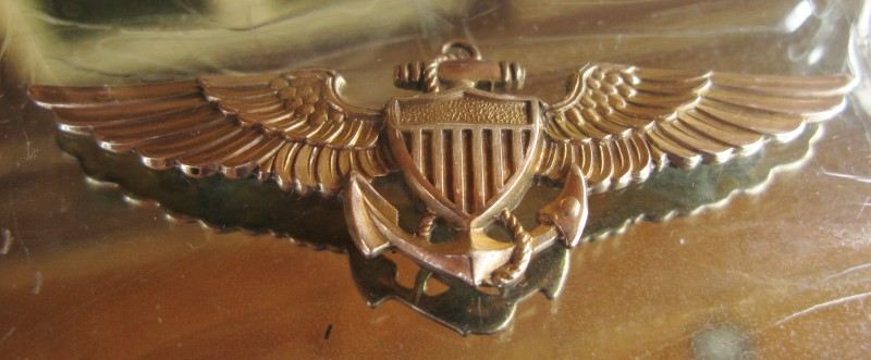 WWII 1945 Engraved Dedication Mirror, Sterling Frame, 10K US Navy Aviator Wings