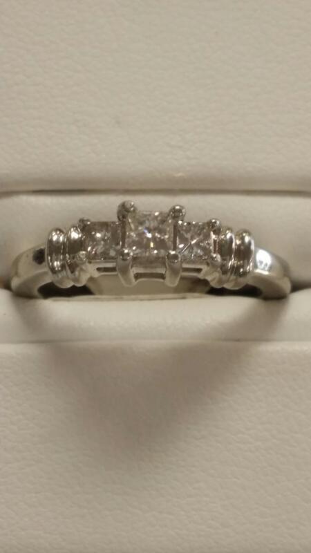 Lady's Platinum Diamond Cluster 3 Diamonds .50 Carat T.W. 950 Platinum 4.5dwt