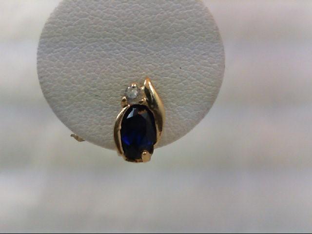 Sapphire Gold-Stone Earrings 10K Yellow Gold 1g