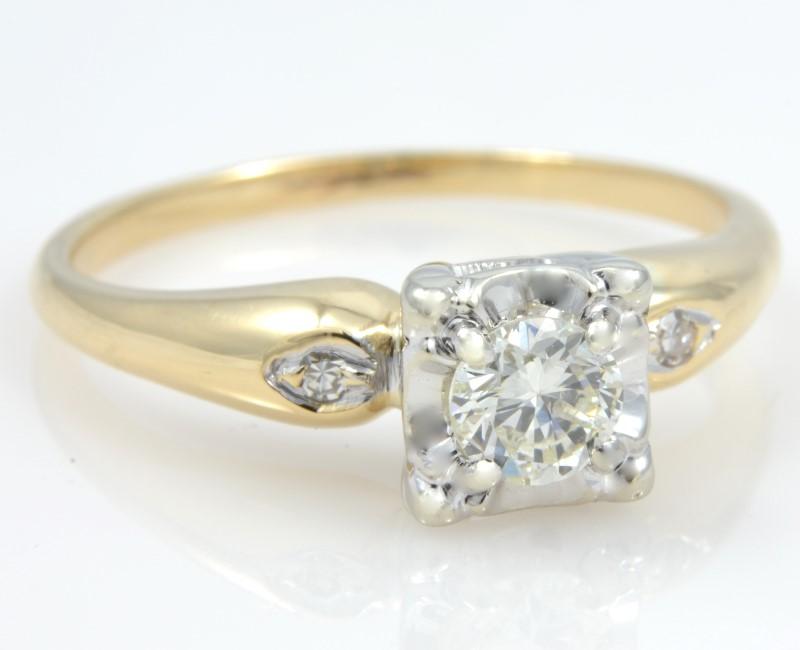 ESTATE DIAMOND RING SOLID 14K GOLD ENGAGEMENT WEDDING FINE SIZE 8.5