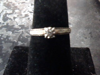 Synthetic Cubic Zirconia Lady's Stone Ring 14K Yellow Gold 1.2dwt