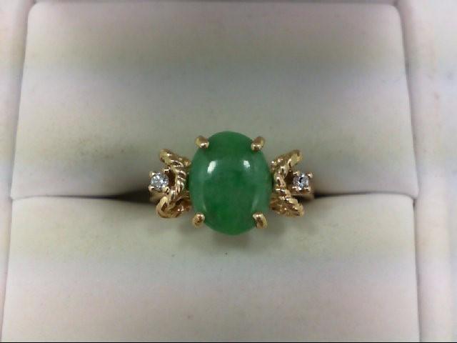Jade Lady's Stone & Diamond Ring 2 Diamonds .04 Carat T.W. 14K Yellow Gold 2.7g