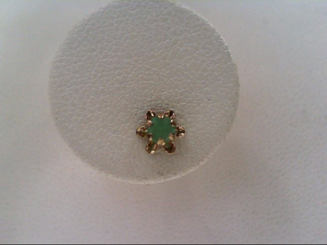 Emerald Gold-Stone Earrings 14K Yellow Gold 0.5g