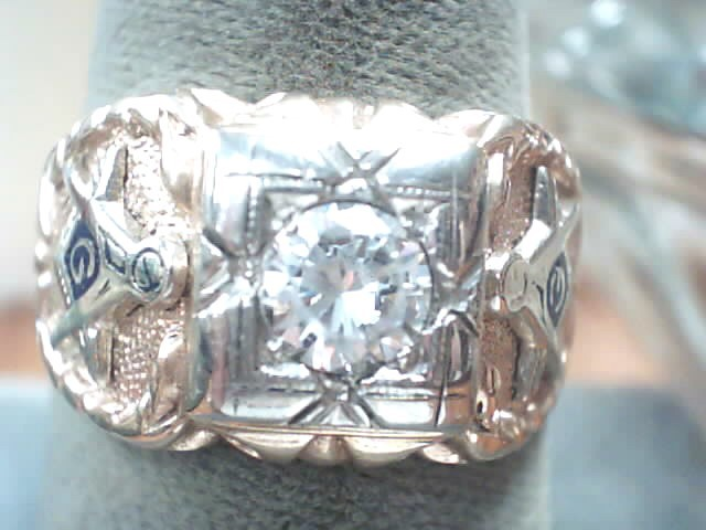 White Stone Gent's Stone Ring 10K Yellow Gold 5dwt