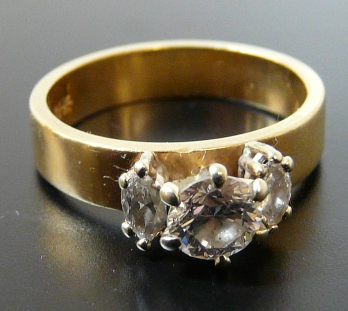 Lady's Diamond Ring 3 Diamonds .74 Carat T.W. 14K Yellow Gold 2.4dwt