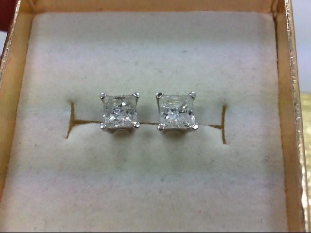 Gold-Diamond Earrings 2 Diamonds .69 Carat T.W. 14K White Gold 1g
