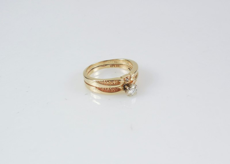 Lady's Diamond Wedding Set 0.15 CT. 14K Yellow Gold 4.2g Size:6