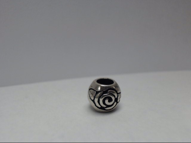STERLING SILVER ROSE BEAD CHARM, WILL FIT PANDORA STYLE BRACELETS