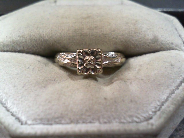 Lady's Diamond Engagement Ring .03 CT. 14K White Gold 2g