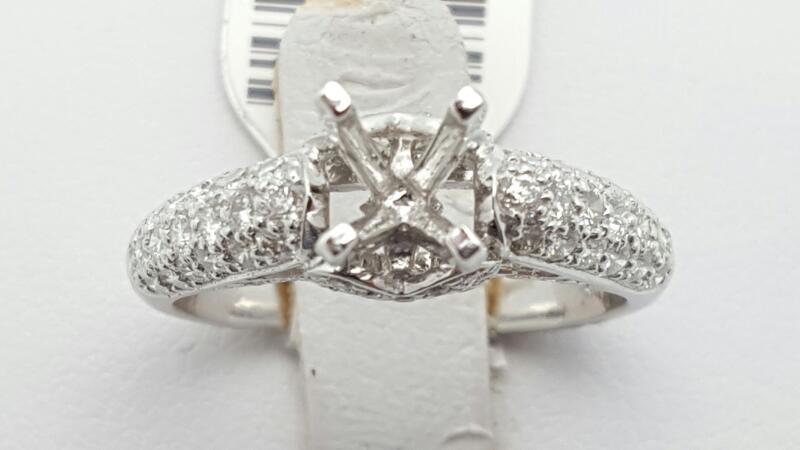 Lady's Diamond Engagement Ring 84 Diamonds .84 Carat T.W. 18K White Gold 4.8g