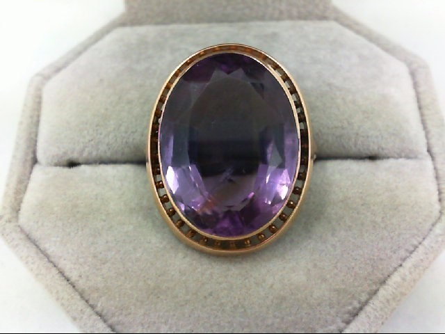 Amethyst Lady's Stone Ring 14K Yellow Gold 7.4g
