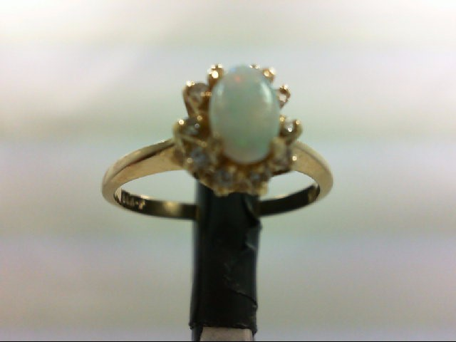 Opal Lady's Stone & Diamond Ring 10 Diamonds 0.1 Carat T.W. 14K Yellow Gold 2.2g