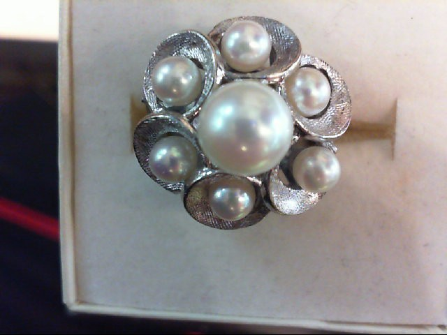 Pearl Lady's Stone Ring 14K White Gold 9.3g