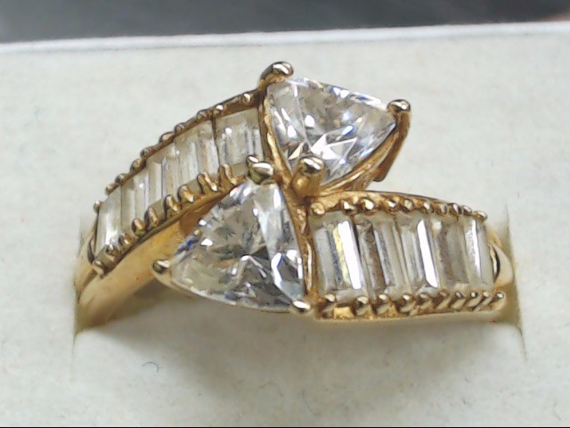 Synthetic Cubic Zirconia Lady's Stone Ring 10K Yellow Gold 4.2g Size:10.3
