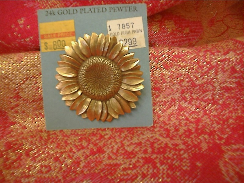 MISC NEW MISC NEW MISC DANFORTH 12-0551-5; 12-0551-5 24K GOLD PLATED SUNFLR BROO