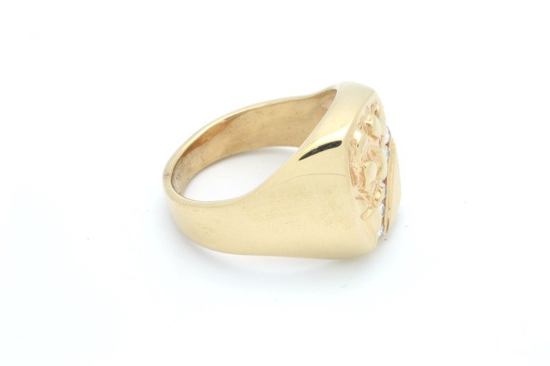 MENS ESTATE DIAMOND RING SOLID 10K GOLD NUGGET STATEMENT SIZE 10