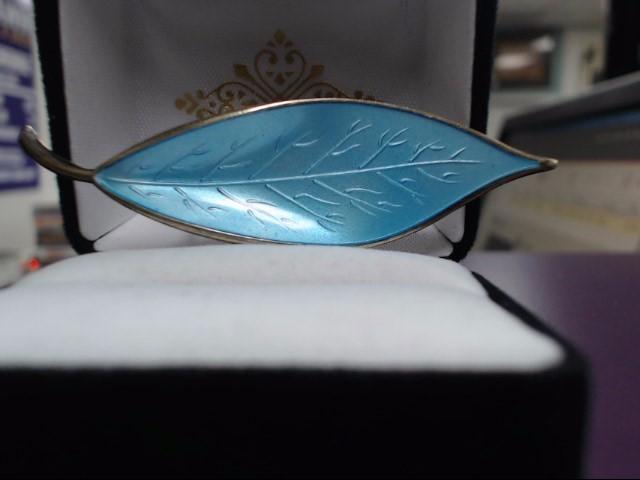 Sterling Silver Metallic Blue Curved Leaf Brooch
