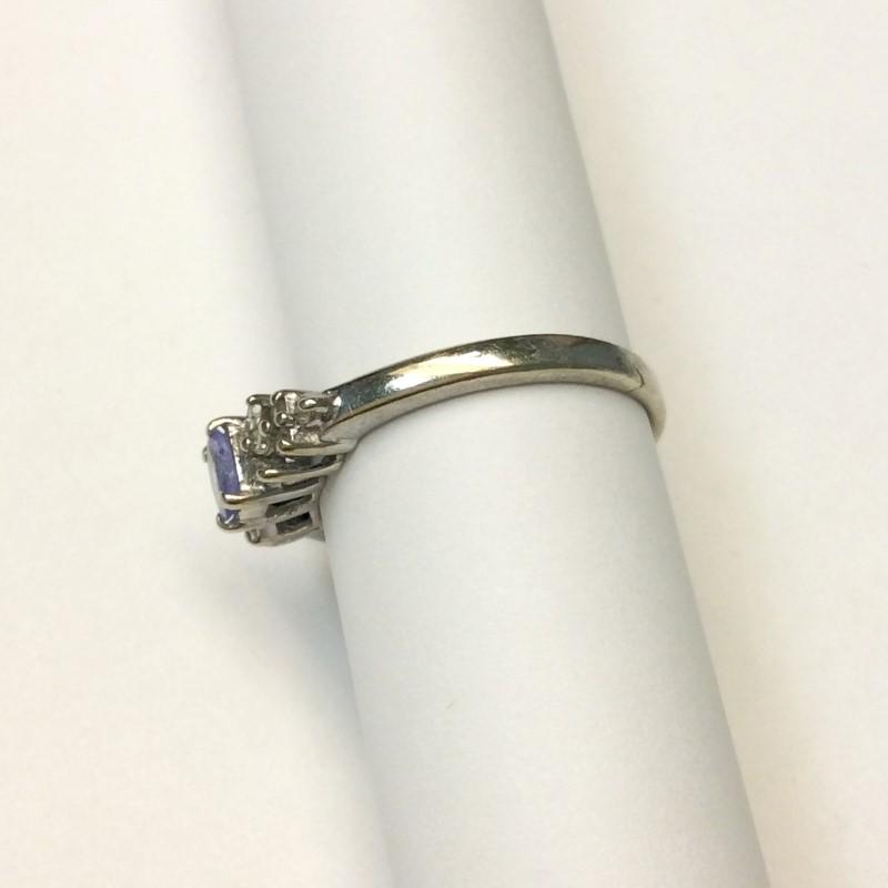 Tanzanite Lady's Stone & Diamond Ring 12 Diamonds .12 Carat T.W. 10K White Gold