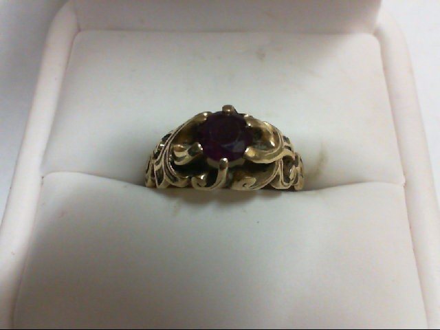 Ruby Lady's Stone Ring 14K Yellow Gold 4.1g