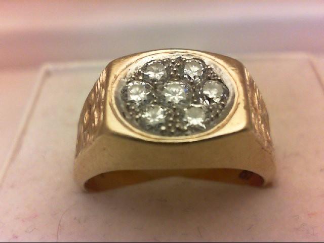 Gent's Diamond Cluster Ring 7 Diamonds .50 Carat T.W. 14K Yellow Gold 11.47g
