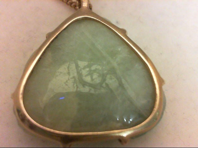 Jade Gold-Stone Pendant 14K Yellow Gold 10g